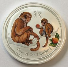Australia – 1 dollar 2016 'Year of the Monkey' coloured – 1 oz silver
