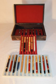 25 exclusive fountain pens for collectors, gold and silver plated in its wooden box with red velvet