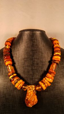 Vintage old egg yolk and dark honey colours Baltic Amber necklace, length ca. 60 cm, 136 grams