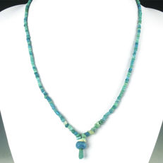 Necklace with Roman turquoise glass beads - jewellery box included