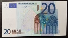 European Union - Ireland - 20 Euro 2002  Duisenberg - MISPRINT - WHITE STRIP on front missing Hologram  -  ERROR  NOTE