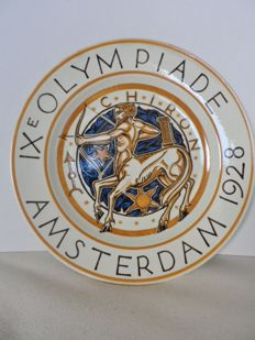 W.J. Rozendaal (designer) for P. Regout Maastricht - Official NOC wall plate for the IXth Olympiade, 1928 in Amsterdam