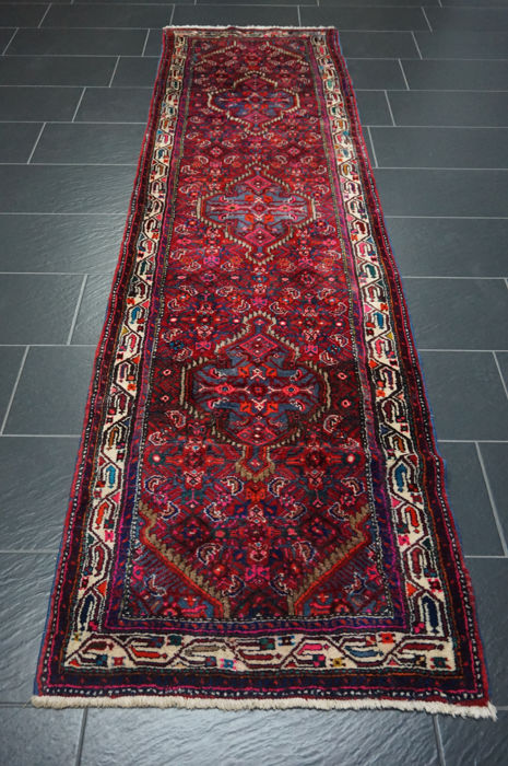 Old high-quality - Persian carpet - Hamadan - runner -made in Iran -   80 x 300 cm
