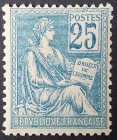 France 1900/01 - Mouchon type I, 25 c. Blue, Signed Calves with digital certificate - Yvert No 114