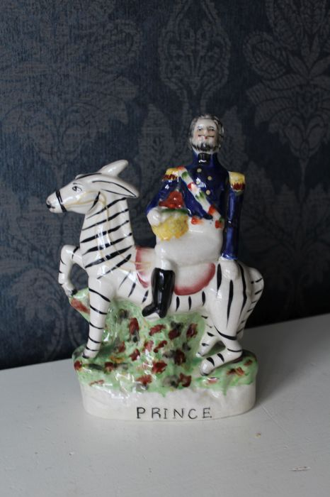 Staffordshire -  antique porcelain sculpture 'Prince' - The prince riding on a zebra