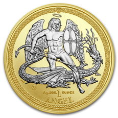 Great Britain - 1 oz Angel Isle of Man 2015 - Archangel/Dragon Slayer - gilded - gold reverse proof - 999 fine silver + 999 gold