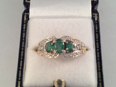 Vintage ring, yellow and white gold with emerald and diamond, ring size: 17.5/55