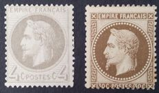 France 1866/67 - Napoleon III laureled, 4 c. grey and 30 c. brown, signed Calves - Yvert 27 and 30