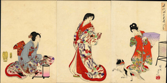 Woodblock print triptych by Toyohara Chikanobu (1838–1912) - Chiyoda Castle (Album of Women) - Japan - 1895