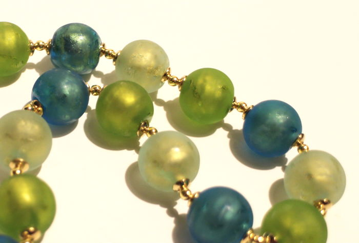 Necklace - Murano glass with 24 kt gold - Length: 46 cm