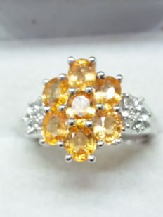 Beautiful Garnet. Genuine 3.46cts Tanzanian Tangerine Garnet with White Topaz dress ring. Lustrous!!!