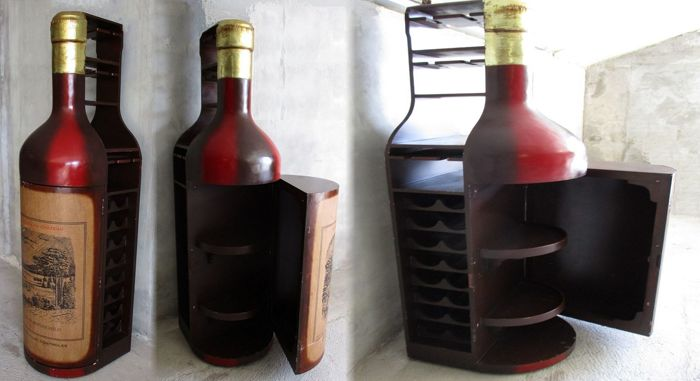 Giant Bottle Shaped Wine Cabinet Lafite Rothschild 1902 Fits 32