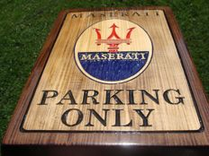 Maserati PARKING ONLY  Large unique handmade sculpting logo made from wood - 33,5 cm x 48,5 cm