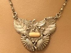 Silver pendant on necklace - Art Nouveau