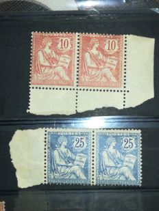 France 1902 – Block of 2 stamps, type Mouchon, Yvert 124 and 127.