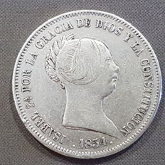 Isabel II - 20 silver reales - year 1854 - minted in Madrid.