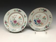 2 porcelain polychrome plates famille rose - China - 18th century