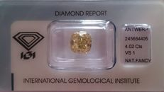 This unique square cushion 4.02ct natural fancy intense Brown/Yellow color Diamond - Sealed & certified IGI