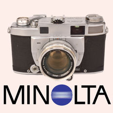 "Rare MINOLTA ""SUPER A"" rangefinder camera with a 50 mm F1.8 lens."
