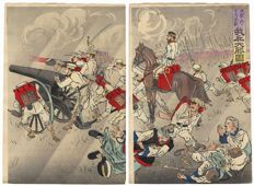 Large original diptych woodblock print by Kobayashi Kiyochika (1847 - 1915) - Japan - 1895