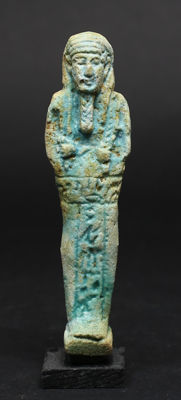 Egyptian faience Ushabti for the Overseer of Necropolis Sematawy Tanetneferher - 115 mm