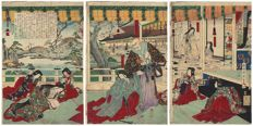 "Original woodblock triptych by Toyohara Chikanobu (1838 - 1912) - ""Gio and Hotoke"" - Japan - 1884"