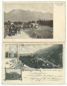 Collection of postcards from Austrian cities and villages 84 x