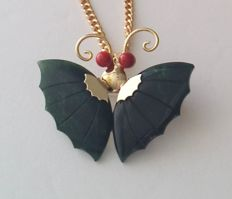 1970s ELKA 12kt Gold Filled Chain with Jade and Coral Butterfly Pendant/brooch