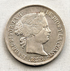 Spain - Isabel II - 4 silver reales - 1858 Madrid.