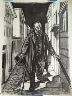 Hans Erni, Gottfried Keller (19 July 1819 in Zurich; † 15 July 1890) a Swiss poet and politician - lithography