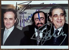 Hand signed colour photograph of Pavarotti, Carreras and Domingo - around 1995