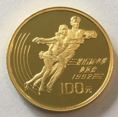 China – 100 yuan 1991 'XVI Winter Olympics 1992 in Albertville' – 1/3 oz gold