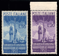 Italy, Republic 1950 – Radio broadcasting, two series – Sass.  No.  623-624