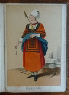 Costumes; Album with 25 hand-coloured lithographs of Spanish regional clothing - c. 1880