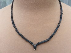 Roman Empire- Necklace with black iridescent glass beads - 41 cm. + 1 cm.