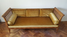 Walnut sofa in Biedermeier style with velour upholstery, 19th century