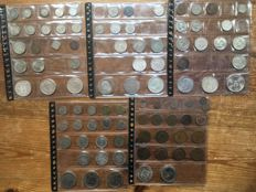 World – Collection with Germany, Netherlands, France, Mexico, England, with many silver coins, 1767-1980