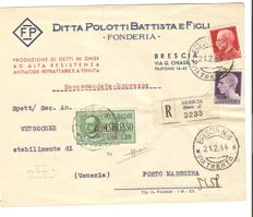 Italy, RSI 1944 – mixed franking (Kingdom/RSI) including Express Mail with GNR overprint of Brescia (Type 3) on envelope from Brescia to Porto Marghera