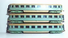 "Roco H0 - 44283 - 3 x Express train passenger carriages 1st/2nd class ""Plan-D Bolkoppen"" of the NS, in turquoise livery"