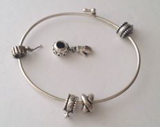 Avery Wire Bracelet and Pandora Charms, 7 inches inside circumference