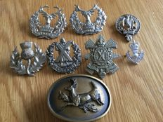 Military Cap Badges plus others , ( Mainly Scottish )