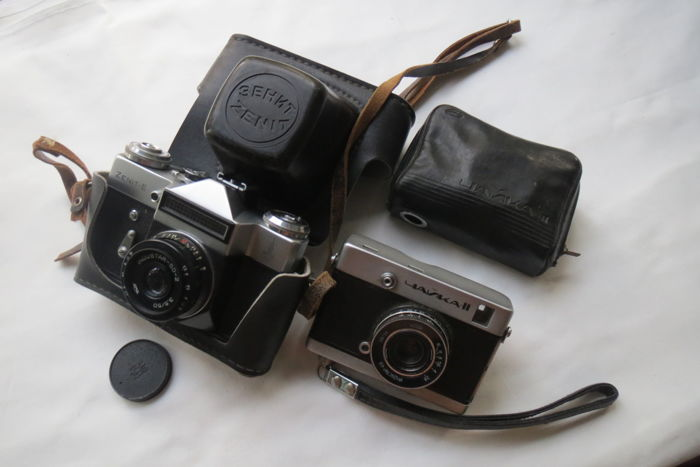 """Zenit-E"" -(Olympic).A rare camera released for export in honor of the 1980 Olympics in Moscow. USSR 1979 +  As a gift camera ""Chayka 2"" BelOMO (Minsk)1967-1972 -(Working)"