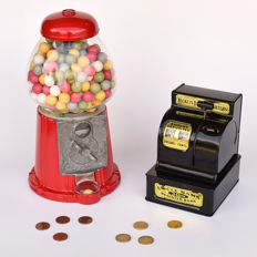 Metal Retro Gumball machine and Uncle Sam's coin bank.