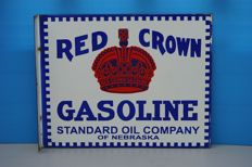 Vintage Two Sided Enamel Sign RED CROWN GASOLINE STANDARD OIL COMPANY OF NEBRASKA - USA - probably 1930ies (or earlier)