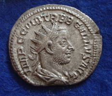 Roman Empire - Silvered Antoninianus of Trebonianus Gallus (251-253 AD) JUNO struck in Rome  (p633)