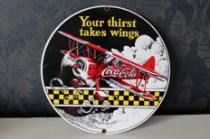 Enamel sign - Coca Cola - Your thirst takes wings - 1994