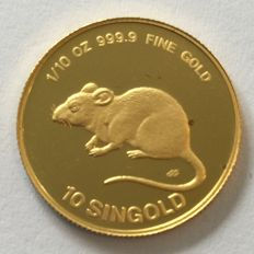 Singapore – 10 Singold 1984 'Mouse' – 1/10 oz Gold