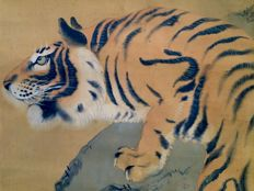 Detailed antique hanging Scroll - 'Fierce Tiger' - Incl.original Tomobako (scroll box) - Japan - ca. 1920