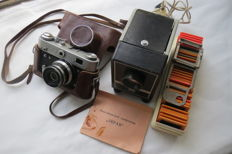 "Rare diaprojector ""Ekran"" with a set of slides. For a present FED-3. USSR produced FED (Kharkov) 1961-1979."