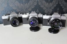 3 Praktica cameras with lens - Super TL2, Super TL3 and LTL